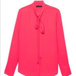 🆕Banana Republic Dillon Tie-Neck Hot Pink Blouse